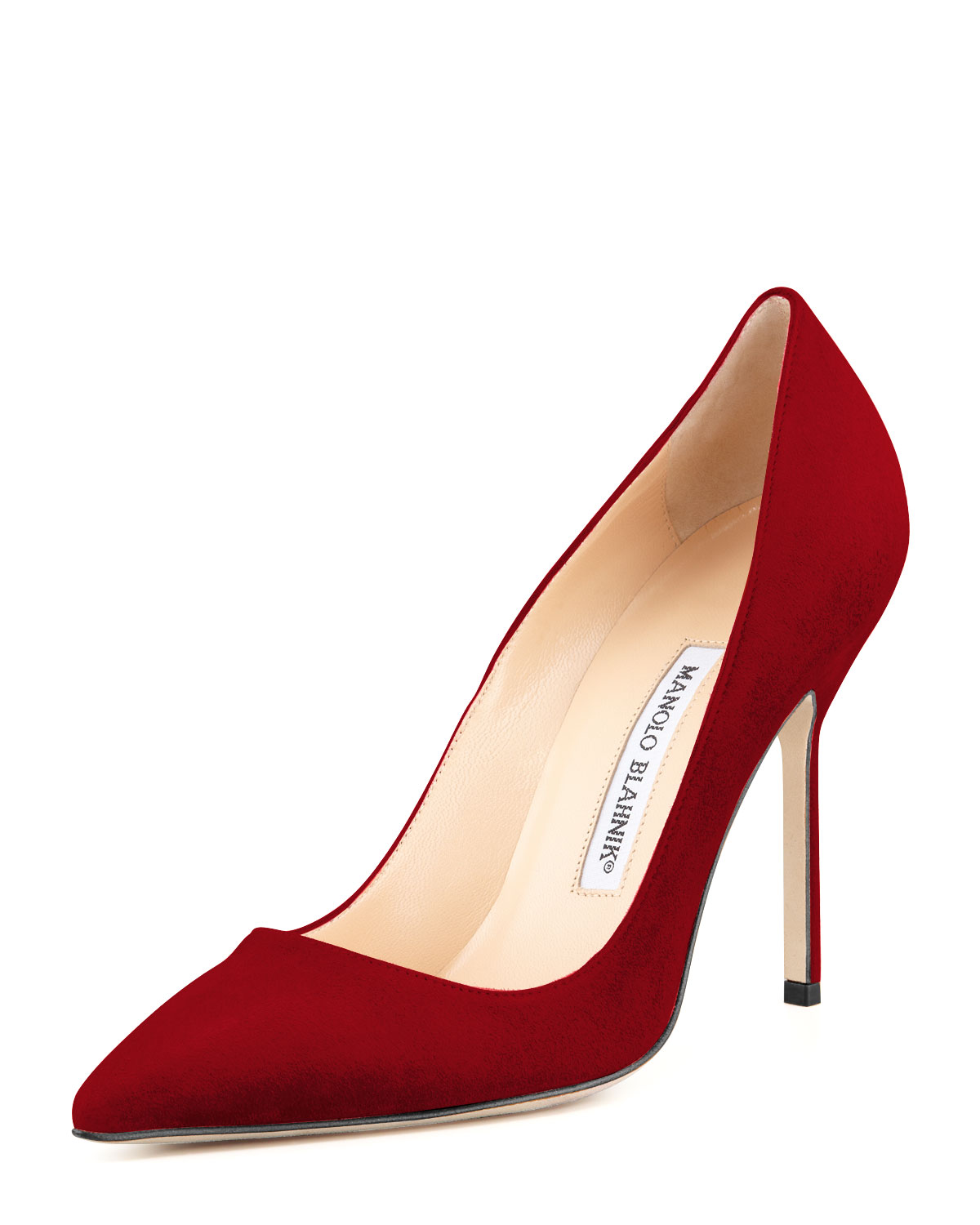Manolo Blahnik BB Suede 105mm Pump, Ruby (Red) (Made to Order), Women's, Size: 38.0B/8.0B