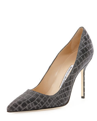 BB Metallic Croc-Print 105mm Pump, Anthracite (Made to Order)