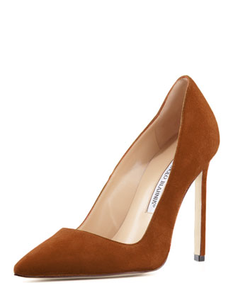 BB Suede 115mm Pump, Cognac (Made to Order)