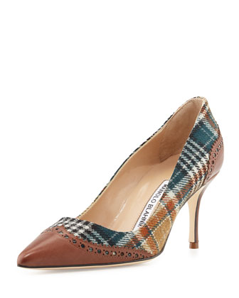 Ancor Plaid & Leather Wing-Tip Pump, Brown