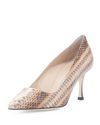 BB Snake Mid-Heel Pump, Beige/Brown