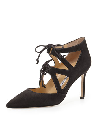 Asaki Double-Tie Point-Toe Suede Pump, Gray