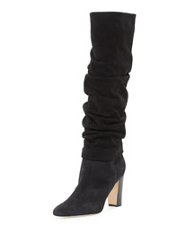 Brunchilee Scrunched Suede Knee Boot, Black