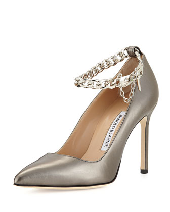 BB Leather Pump with Chain Strap, Anthracite