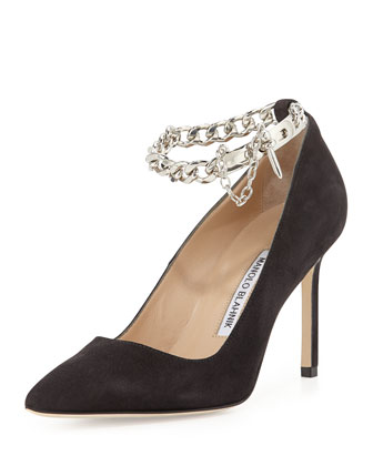 BB Chain 90mm Suede Pump, Gray