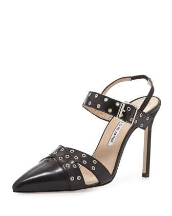 Lupetto Grommet Napa Sandal, Black