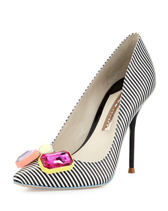 Lola Striped Crystal-Toe Pump, Black/White