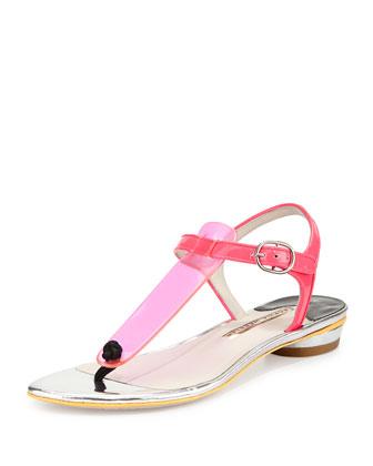 Thalia T-Strap Thong Sandal, Fluoro Pink