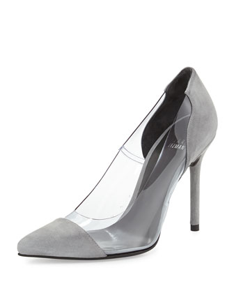 Onview PVC/Suede Pointed-Toe Pump, Mist