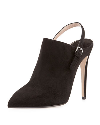 Suede Point-Toe Slingback Ankle Boot, Nero