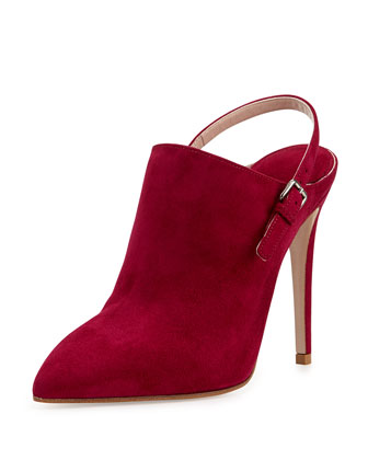 Suede Point-Toe Slingback Ankle Boot, Dark Pink