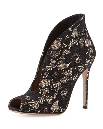 Lace V-Neck Peep-Toe Bootie, Black