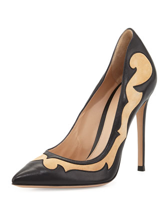 Mixed-Leather Western Pump