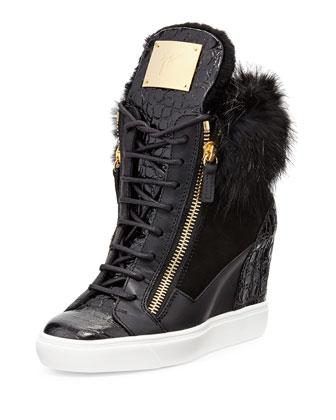 Crocodile-Print/Fur Wedge Sneaker, Black