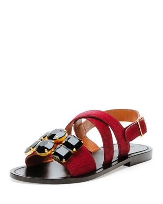 Jeweled Calf Hair Flat Sandal, Bordeaux