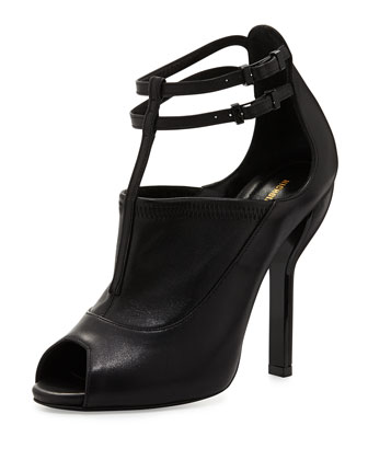 T-Strap Peep-Toe Ankle Boot