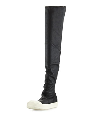 Leather Over-the-Knee Stretch Boot, Black