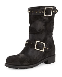 Dash Studded Suede Biker Boot, Black