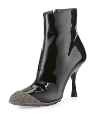 Patent Short Cap-Toe Rain Boot, Nero/Marmo