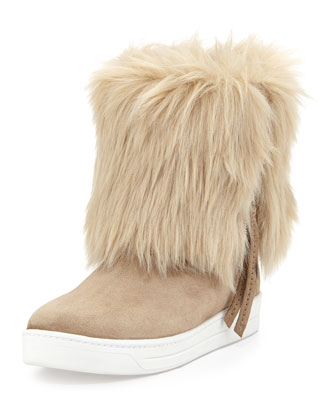 Furry Fold-Over Ankle Boot, Deserto