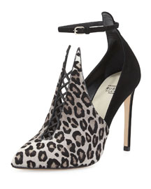 Calf Hair Combo Ankle-Strap Bootie