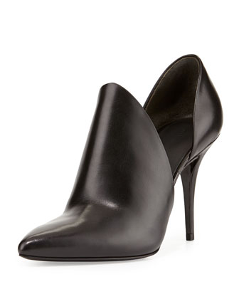 Leva Leather Cutout Bootie, Black