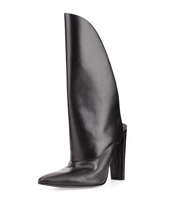 Runway Leather Bootie Mule