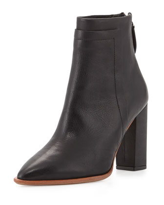 Mercer Pointy-Toe Leather Bootie, Black