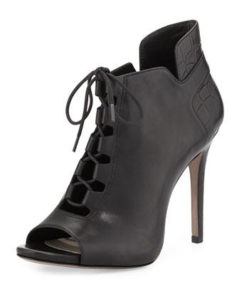 Vionne Lace-Up Peep-Toe Ankle Boot, Black