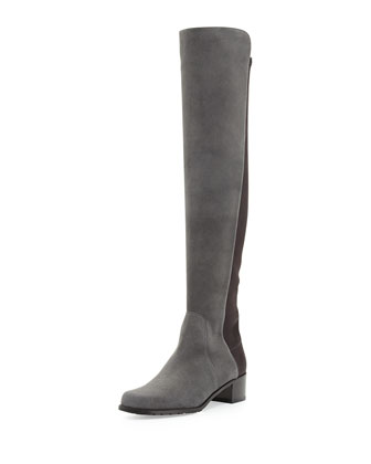 Reserve Suede Over-the-Knee Boot, Smoke (Made to Order)