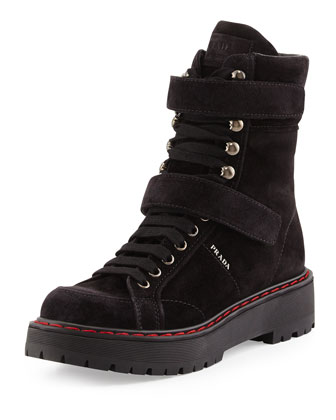 Suede High-Top Hiking Boot, Nero