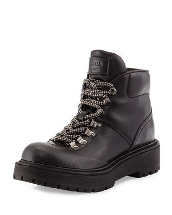 Leather Hiking Boot, Nero