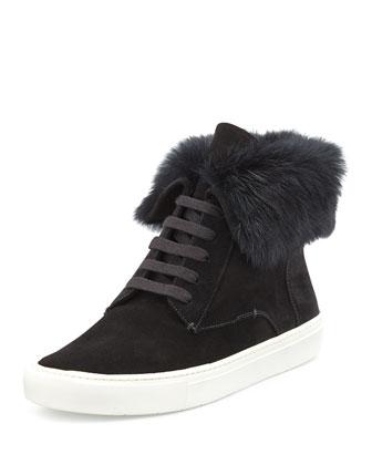 Nyack Rabbit Fur-Cuff Sneaker, Black
