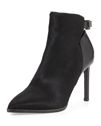Calla Pointed Calf Hair Bootie, Black
