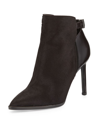 Calla Pointed Calf Hair Bootie, Black Cherry