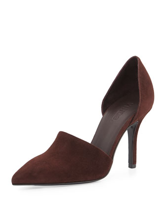 Claire Two-Piece Suede Pump, Black Cherry