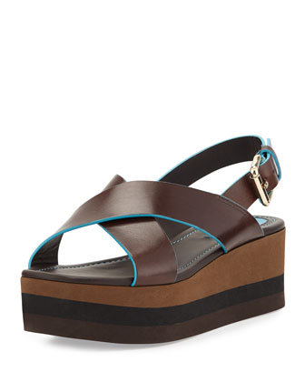 Crisscross Flatform Sandal, Moro/Turchese