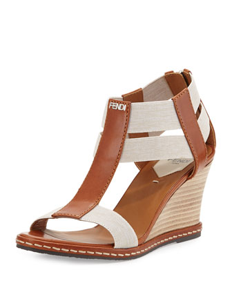 Leather Banded-Strap Wedge Sandal, Cuoio Latte