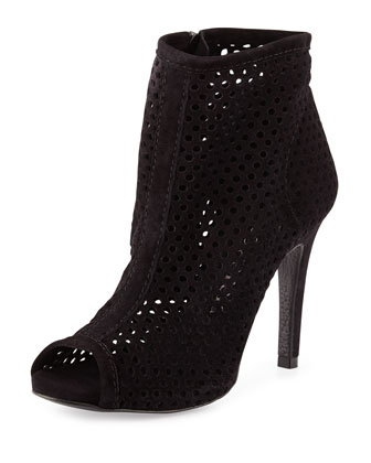 Sylvana Perforated Peep-Toe Bootie, Black