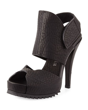 Pansy Leather Up-Front Platform Sandal, Black