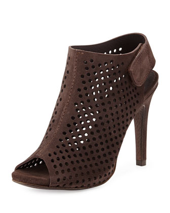 Sofia Perforated Suede Peep-Toe Bootie, Silt