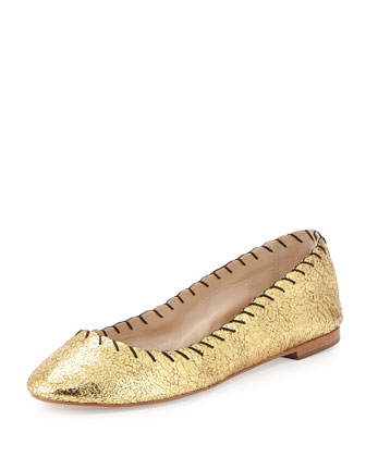 Karlotta Metallic Scalloped Ballerina Flat, Gold