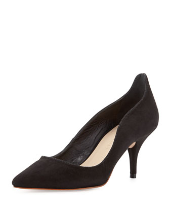 Poppi Suede Pointed-Toe Pump, Black