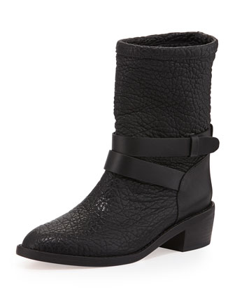 Vesper Pebbled Moto Boot, Black