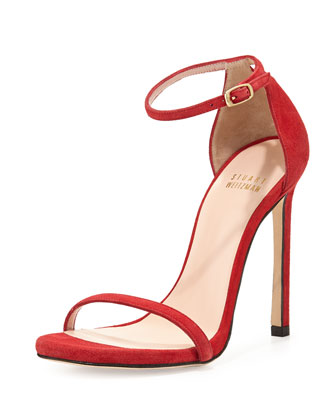 Nudist Ankle-Strap Suede Sandal, Red
