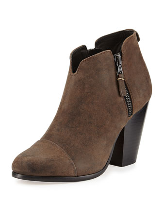 Margot Leather Zip Ankle Bootie, Stone