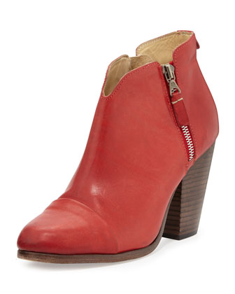 Margot Double-Zip Bootie, Red