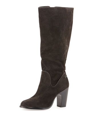 Lilford Slouchy Suede Knee Boot, Asphalt