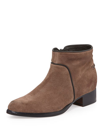 Aston Suede Ankle Bootie, Taupe