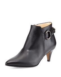 Selina Leather Chain-Strap Bootie, Black